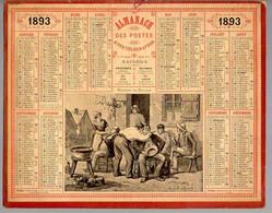 CALENDRIER GF 1893 - Le BARBIER De Village, Imprimeur Oberthur Rennes - Big : ...-1900