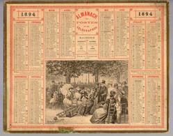 CALENDRIER GF 1894 - Jardin Du Luxembourg Paris, Imprimeur Oberthur Rennes - Big : ...-1900