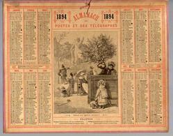 CALENDRIER GF 1894 - Bébé Se Croit Perdu Au Jardin, Imprimeur Oberthur Rennes - Big : ...-1900