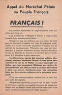 """WW2 - Tract Du DÉBARQUEMENT - """"Appel Du Maréchal Pétain Au Peuple Français"""" - Documentos Históricos"""
