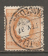 1870- Yv. N° 43c  Dent 12 1/2 Papier Couché (o) 80r Orange Louis Ier Cote  30 Euro  BE R2 Scans - Used Stamps