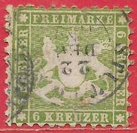 Wurtemberg N°23 6k Vert 1862 (STUTTGART 22 DEC 62) O - Wuerttemberg