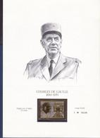 DE GAULLE TIMBRE OR SUR DOCUMENT TIRAGE LIMITE N°04244. FRAPPE SUR OR BATTU 23 CARATS - De Gaulle (Generale)