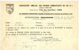 103EM REG INFANTERIE. ATTESTATION COMBAT FORET WARNDT . DEC 1939 - Documents