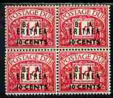 British Occupations Of Italian Colonies - Eritrea 1950 KG6 British Administration Postage Due 10c On 1d Overprinted BA E - Eritrea