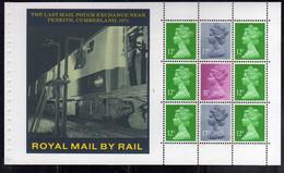 GREAT BRITAIN GRAN BRETAGNA 1986 STORY OF BRITISH RAIL ROYAL MAIL THE LAST POUCH EXCHANGE PENRITH BLOCK BOOKLET PANE - Blocks & Kleinbögen