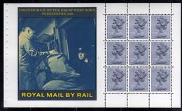GREAT BRITAIN GRAN BRETAGNA 1986 STORY OF BRITISH RAIL ROYAL MAIL LOADING ON THE WEST DOWN PADDINGTON BLOCK BOOKLET PANE - Blocks & Kleinbögen