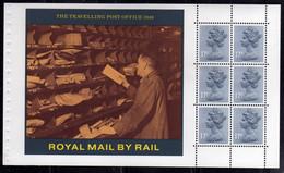GREAT BRITAIN GRAN BRETAGNA 1986 STORY OF BRITISH RAIL ROYAL MAIL THE TRAVELLING POST OFFICE 1948 BLOCK BOOKLET PANE - Blocks & Kleinbögen