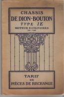 DE DION BOUTON. 2 FASCICULES DE DION BOUTON TYPE E Et 10 CV Voir Détail Dans Description - Auto