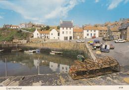 Postcard Crail Harbour Fife Lobster Pots Yellow Austin Mini & Brown Ford Escort  My Ref B24669 - Fife
