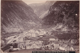 OLD  PHOTO  1890'S - SWITZERLAND -   GOESCHENEN - GOTTHARD BAHN - STATION - 15 X 10 CM - UR Uri