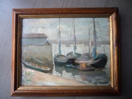Tableau Ancien Du Port De Bordeaux Signé - Oils