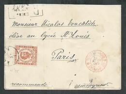 Montenegro. Lettre Recommandé Affranchie Timbre Prince Nicolas  Pour Paris - Montenegro