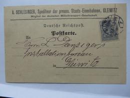 Gleiwitz - Postkarte Schlesinger Spedition Gleiwitz Gelaufen 1901 - Schlesien