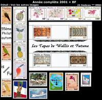 WALLIS ET FUTUNA Année Complète 2001 + BF - Yv. 548 à 564 + BF 10 ** MNH  Faciale= 26,31 EUR - 21 Timbres ..Réf.W&F23098 - Full Years