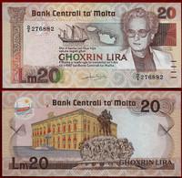 MALTA BANKNOTE - 20 LIRA L.1967 (1986) KM#40 ABOUT UNC (NT#01) - Malta