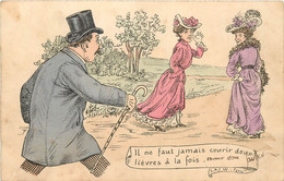 HUMOUR GRIVOISERIE IL NE FAUT JAMAIS COURIR DEUX LIEVRES A LA FOIS ILLUSTRE PAR L.J.W PARIS - Humor