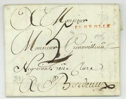 LA REOLLE La Reole 1776 Pour Bordeaux Christut Jolie Cachet De Cire - 1701-1800: Precursori XVIII