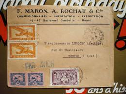 2 Enveloppes  1949 Par Avion    Maron Et Rochat Beau Timbres - Storia Postale