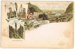 Litho Gruss Aus Porta Westfalica, Drei-Kaiser-Turm, Hermannsdenkmal Und Totale Um 1900 - Porta Westfalica