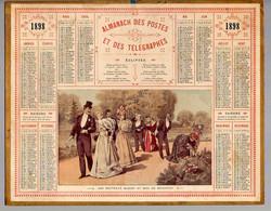 CALENDRIER GF 1898 - Les Nouveaux Mariés Au Bois De Boulogne, Imprimeur Oberthur Rennes - Big : ...-1900