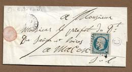 CHAUFFAILLES : 1853 : PC 820 Sur 25c Présidence N°10 + Boite Rurale C  Sur Lettre + CàD Type 15 ( Saône Et Loire ) : - 1849-1876: Periodo Clásico