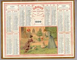 CALENDRIER GF 1899 - Jeux Sur La Pelouse, Enfant Chien Chat - Imprimerie Oberthur Rennes - Big : ...-1900
