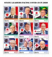 Liberia 2021 State Leaders Facing Covid-19 In 2020. (102a) OFFICIAL ISSUE - Disease