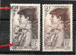 Variétè: Du N°738 Sarah Bernhardt, 2 Teintes Et Trainées De Couleurs En Bas  Et Sur La Valeur - Varieteiten: 1945-49 Postfris