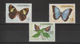 Colombie 1976 Papillons Et Plantes 692-694 3 Val ** MNH - Colombia