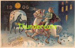 CPA EN RELIEF GAUFREE BONNE ANNEE MILLESIME 1906  EMBOSSED NEW YEAR CARD - Anno Nuovo