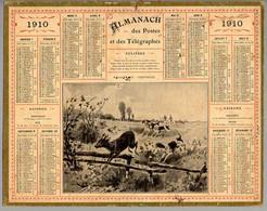 CALENDRIER GF 1910 - Chasse Aux Chevreuil, Imprimeur Oberthur Rennes - Big : 1901-20