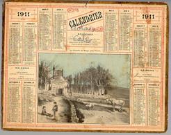 CALENDRIER GF 1911 - La Chapelle De Burgo, Près De Vannes, Imprimeur Oberthur Rennes - Big : 1901-20