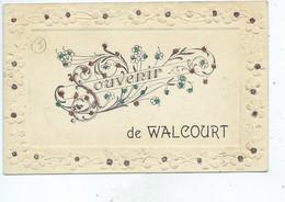 Walcourt Souvenir ( Cachet De Walcourt ) Superbe Carte Fantaisie Avec Paillettes Et Carte Gaufrée - Walcourt