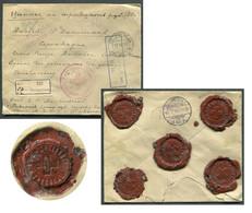 06104 WWI Russia RARE Red Cross Wax SEAL POW Petrograd Money Cover 1917 Cancel CENSOR To Denmark - Briefe U. Dokumente