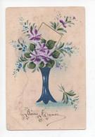 """""""  Bonne  Année      """" -  Peinte  à  La  Main  - Belle  Vase  Des  Violettes  Et  Fleurs  Bleus - Sonstige"""