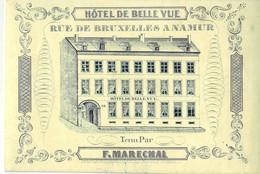 DE 486 - Carte Porcelaine D'Hotel De Belle Vue, Namur Imp. Carbotte Van Dinten & E. Hambursin, Jambe. - Sin Clasificación