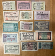 15 X German Inflation Banknotes, Millionen And Milliarden - Zonder Classificatie