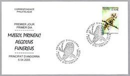 MOCHUELO BOREAL - BOREAL OWL - Aegolius Funereus. FDC Andorra 2005 - Eulenvögel