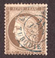 Cérès N° 56 Brun - Oblitération T15 Bleu Les Dardanelles-Turquie - 1871-1875 Cérès