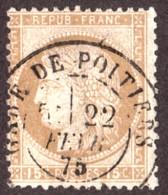 Cérès N° 55 Bistre-brun - Oblitération T17 Gare De Poitiers - 22 Février 1875 - 1871-1875 Cérès