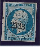 25 C Bleu N° 15 Obl Pc 2333 (Orchamps) Signé Calves TB. - 1853-1860 Napoléon III