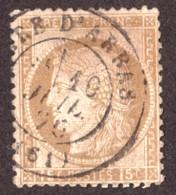 Cérès N° 55 Bistre-brun - Oblitération T17 Gare D'Arras - 10 Juillet 1876 - 1871-1875 Cérès