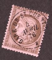 Cérès N° 54 Brun Foncé Sur Rose - Oblitération T15 Gare De St Quentin (Aisne) - 4 Avril 1876 - 1871-1875 Cérès