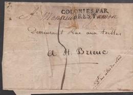 LSC - COLONIES PAR BREST - 1823 - Schiffspost