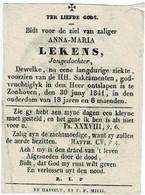 ZONHOVEN -- Anna LEKENS - Overleden 1841  - (Kopergravure S.  CECILIA  -  L.. Fruytiers) - Devotion Images