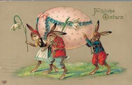 79317- Fröhliche Ostern Vermenschlichte Osterhasen 1917 - Pâques
