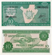 BURUNDI, 10 FRANCS, 2005, P33e, UNC - Burundi