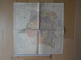 1950 Congo Belge Zaïre Carte Géographique Carte Politique Du Congo Belge - Belgisch-Congo - Varia