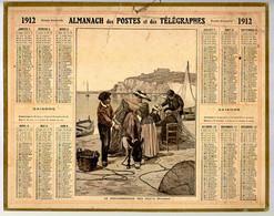 CALENDRIER GF 1912 - Le Raccommodage Des Filets De Pèche, Provence, Imprimeur Oberthur Rennes - Big : 1901-20